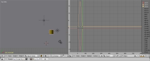 3D-scene med Ipo Curve Editor synlig